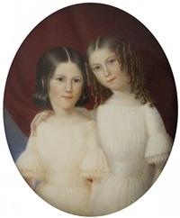 deux jeunes filles, une brune et une blonde tenant la première par l'épaule, en robes blanches, sur fond de rideau pourpre by leon brzezinski