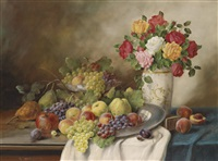 großes dekoratives früchtestillleben mit rosen by alois zabehlicky