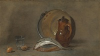 still life with a copper pot, a pitcher, fish, a glass, two nuts and an onion by jean baptiste siméon chardin