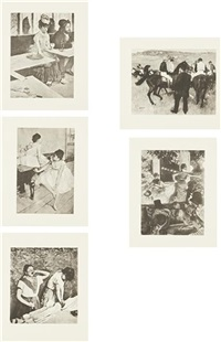 after edgar degas portfolio (set of 5) by sherrie levine