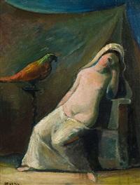 schlafende mit papagei by georg jerzy merkel