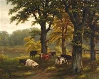 cows in the shade of trees by albertus gerardus bilders