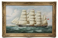 ships portrait of british four mast barque 'penares' by richard b. spencer