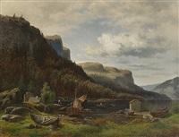 fjordlandskap med folkeliv by harald oscar andersen