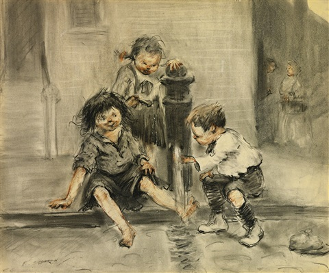 kids cooling off by everett shinn