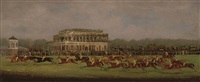 panoramic view of british horse racing, the race for the st. leger stakes, doncaster 1829 by clifton tomson