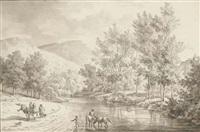 un paysage de rivière avec des figures et des chevaux passant un gué by olivier le may