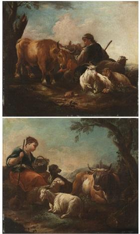 scene pastorali con armenti pair by philipp peter roos