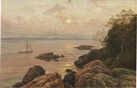 skärgårdslandskap med båt vid solnedgång by berndt adolf lindholm