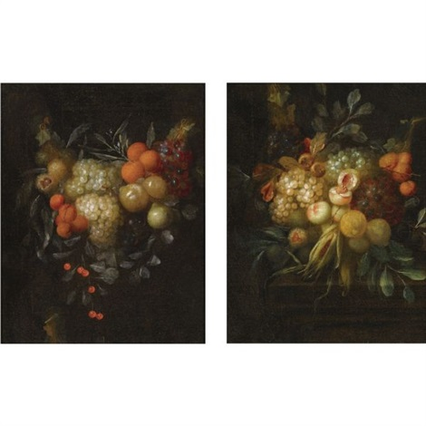 a swag of blue and white grapes oranges chestnuts cherries and apricots a swag of blue and white grapes chestnuts lemons peaches and corn on a ledge pair by jan pauwel gillemans the younger