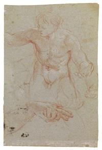 studio di nudo virile e studi di mani (recto); tre studi di teste muliebri e studi di occhi e bocca (verso) by carlo maratta