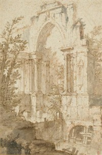 landscape with ruins by mauro antonio (maurino) tesi