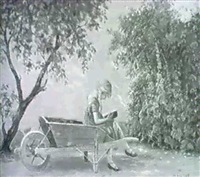 a girl reading in a wheelbarrow by hans hilse