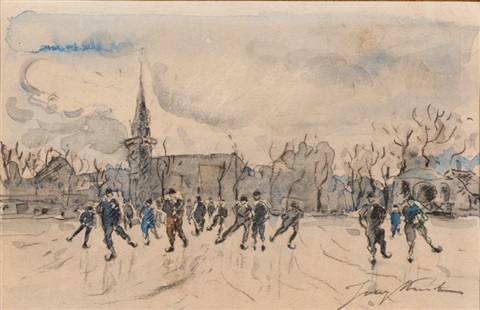 fun on the ice in maassluis by johan barthold jongkind