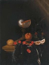 nature morte au nautile, orange, cerises, citron, roemer et fraises des bois sur un entablement garni d'un tapis frangé by harmen loeding