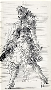 young woman walking, profile by reginald marsh
