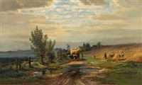 rural landscape with hay wagon by carl weber