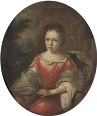portrait of a lady, seated, three-quarter-length, in a red satin dress with a blue mantle, a classical relief and a wooded landscape beyond by hendrik carre