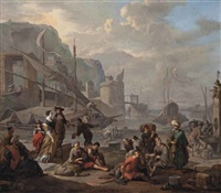 a mediterranean port with an elegant couple and travellers resting by the quay by johannes lingelbach