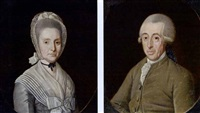 a portrait of jakob boreel van haersma (+ a portrait of anna henrietta van swinderen; pair) by friedrich ludwig hauck