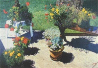 flowers with two benches by robert lemay