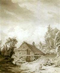 un paysan et ses chiens devant un moulin by paul van liender