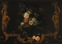 carnations, roses, daffodils and other flowers in a vase within a sculptured frame by nicholas rocoeur