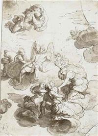 mythologische szene mit geflügeltem gott und merkur in den wolken, umgeben von weiblichen gestalten (+ figure studies, verso) by jean-baptiste corneille