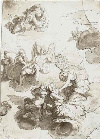 mythologische szene mit geflügeltem gott und merkur in den wolken umgeben von weiblichen gestalten figure studies verso by jean baptiste corneille