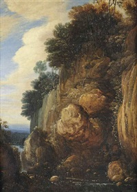 a rocky landscape with a waterfall by flemish school-brussels (17)
