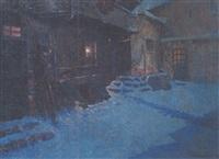 soir d'hiver - neige bleue by louis azema