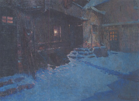 soir dhiver neige bleue by louis azema