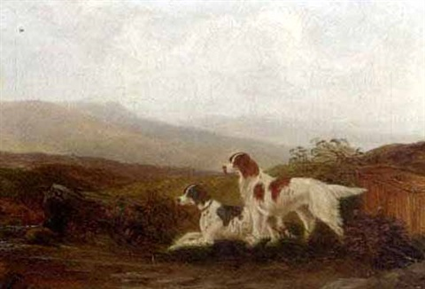 setters by a stream walking up grouse pair by m jackson
