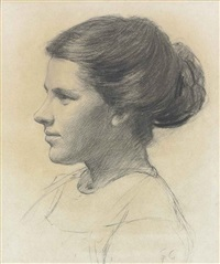 portrait of a young woman, head and shoulders by sir george clausen