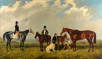 "the thoroughbred ""harkaway"" with two other horses and their riders and a groom leading a pony by john wray snow"