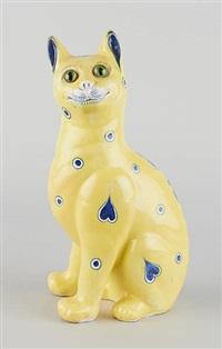 chat en faïence émaillée et yeux en verre by émile gallé