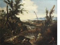 an extensive wooded landscape with a hermit, travellers and other figures by a river with a bridge by alessandro magnasco