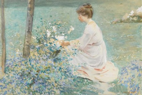 picking flowers by dame laura knight