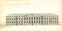 elevation of the the façade of the academy of science in st. petersburg by giacomo quarenghi