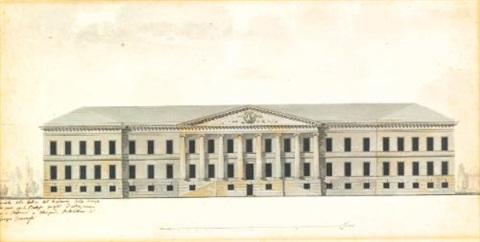 elevation of the the façade of the academy of science in st petersburg by giacomo quarenghi