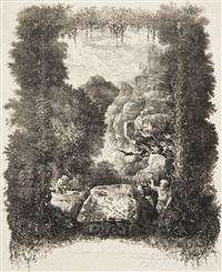 frontispice pour fables et contes par hippolyte de thierry-faletans (je porte cette pierre depuis 50 ans) by rodolphe bresdin