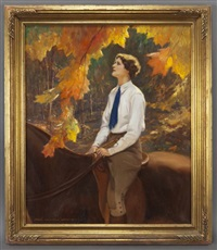 woman riding a horse in an autumnal landscape by john newton howitt