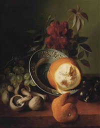 a rose, grapes, mushrooms, an orange and chestnuts by jean-baptiste robie