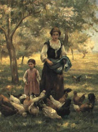 feeding the chickens by thérèse marthe françoise cotard-dupre