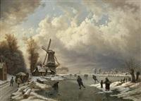 winterliches eisvergnügen in weiter niederländischer landschaft mit windmühlen, einem holzfuhrwerk und personen by august fink