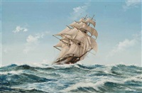 the american clipper flying cloud cracking along in an ocean breeze by john bentham-dinsdale