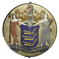 liberty and prosperity, new jersey state seal tile medallion by pierre eugene du simitiere