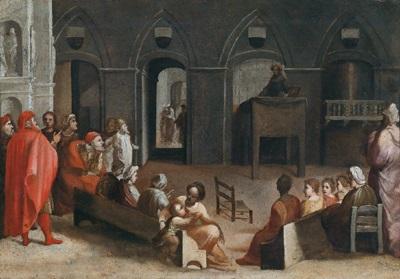 die predigt des heiligen bernhard auf der piazza del campo in siena la predica di san bernardino in piazza del campo a siena by domenico beccafumi