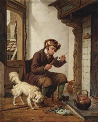 a man smoking a pipe near the fireplace, a dog at his feet by abraham van stry the elder
