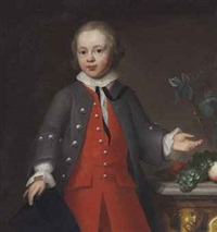portrait of a boy, three-quarter length, in a red suit by john theodore heins sr.